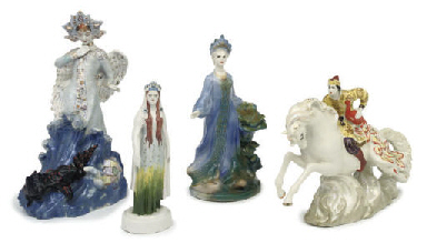 FOUR RUSSIAN PORCELAIN FIGURES