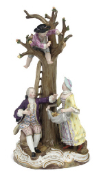 A MEISSEN GROUP OF APPLE-PICKE