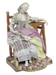 A MEISSEN FIGURE OF 'LA BELLE