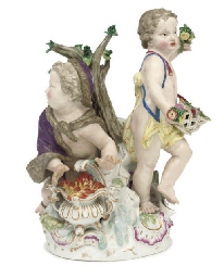 A MEISSEN GROUP OF TWO PUTTI E