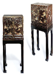 A pair of Chinese inlaid black