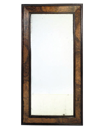 A GERMAN BURR WALNUT MIRROR