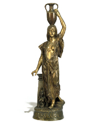 A FRENCH GILT-BRONZE FIGURE EN