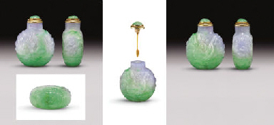 A VERY RARE AND IMPORTANT EMERALD-GREEN AND LAVENDER JADEITE...