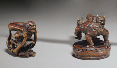A Wood and Ivory Netsuke and T