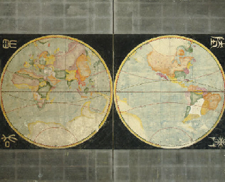 Map of the world in two hemisp