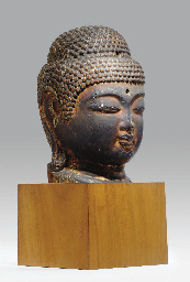 A Wood Head of the Buddha