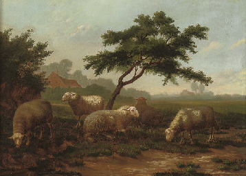 Sheep grazing before a farmste