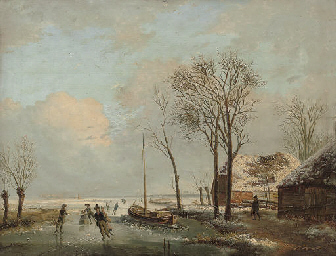 Skaters on a Dutch waterway