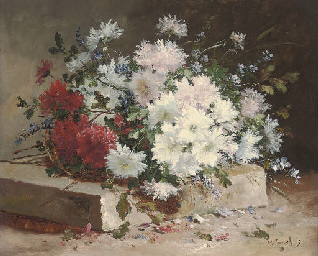 Asters and sweet peas on a sto
