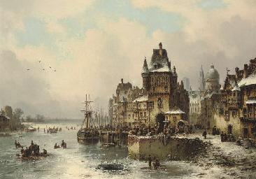 Market day on a frozen lake