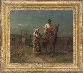 Romanian peasants at the well