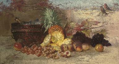Grapes, peaches, a pineapple a