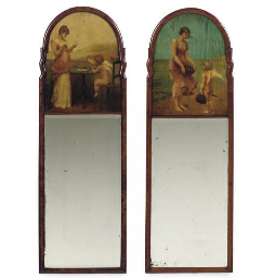 A PAIR OF WALNUT PIER MIRRORS