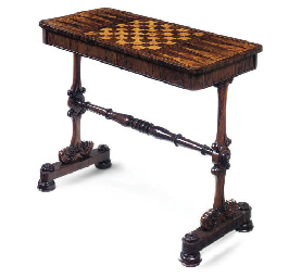 A ROSEWOOD AND WALNUT MARQUETR