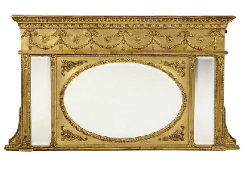 A REGENCY GILT OVERMANTEL MIRR