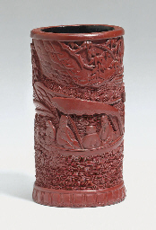 A SMALL CARVED RED LACQUER BRU