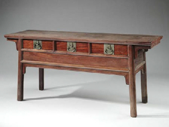 A HUANGHUALI THREE-DRAWER ALTA