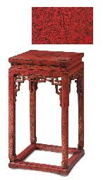 AN INCISED RED LACQUER STAND