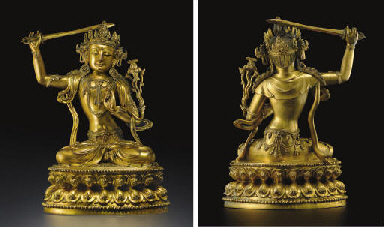 A MAGNIFICENT LARGE GILT-BRONZ