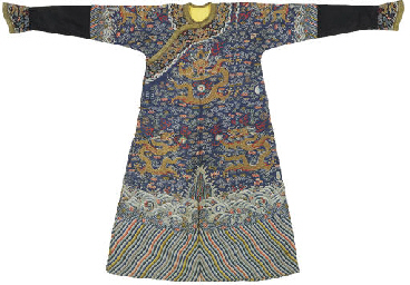 AN EXTREMELY RARE IMPERIAL KESI TWELVE-SYMBOL BLUE-GROUND ROBE, JIFU