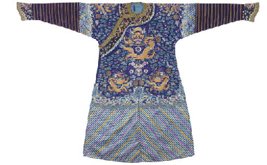 A RICHLY EMBROIDERED BLUE SILK