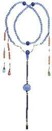A BLUE-GLASS COURT NECKLACE, C