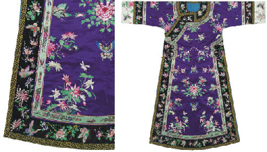 A FINE EMBROIDERED PURPLE SATI