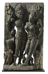 A green stone relief of Shiva