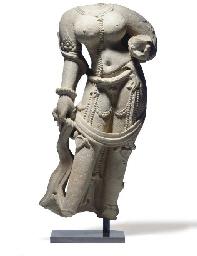 A sandstone torso of a goddess