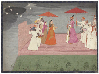 <i>musicians playing a raga for balwant dev singh during the rainy season</i>