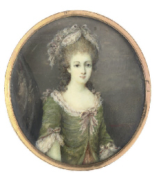 A young lady, in lace-bordered