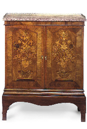 A FLORAL MARQUETRY WALNUT CABI