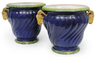A pair of Minton majolica dark