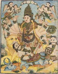 Durga fights a Buffalo Demon