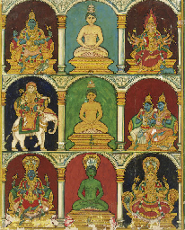 Three tirthankaras with their