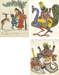 A group of three illustrations