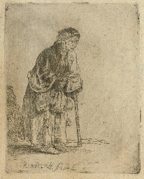 A Beggar Woman leaning on a St