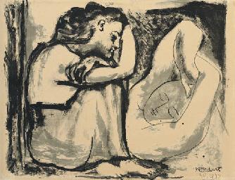 Femme assise et Dormeuse (B. 4
