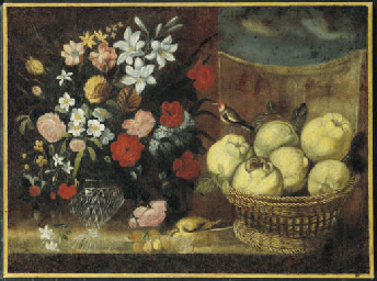 A vase of flowers and a basket