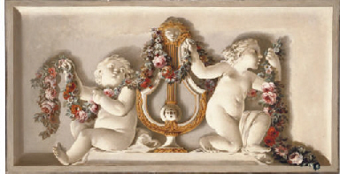 A trompe l'oeil of two putti w