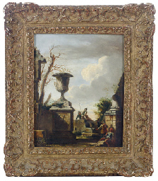 A capriccio with an urn and fi