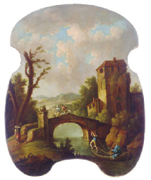 Figures on a bridge in a lands