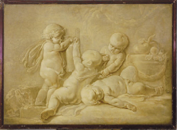 Putti teasing a goat with a ma