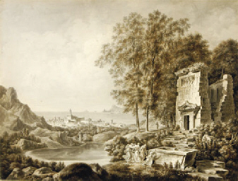 A classical landscape by a har