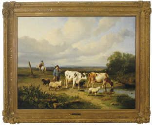 Shepherd with sheep and cattle