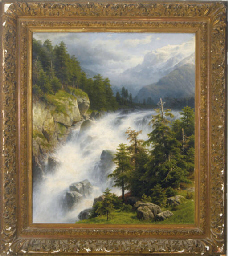 Waterfall in an Alpine landsca
