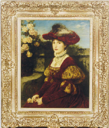 Young beauty in a garden setti