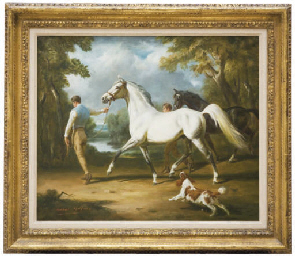 Two horses with grooms and a s