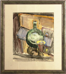 Still life of a bottle and a c